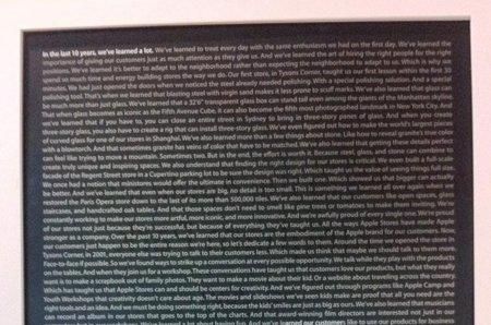 Póster conmemorativo del décimo aniversario de las Apple Store: texto completo