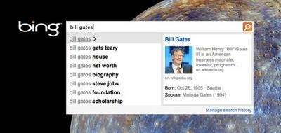 Bing People Autosuggest, resultados de personas instantáneos en el buscador