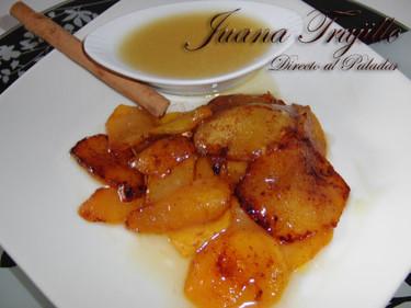 Melocotones fritos con salsa de miel. Receta