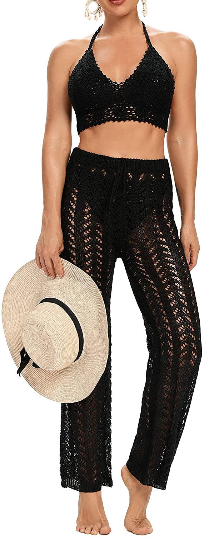 Eghunooye Elegante pantalón de punto bohemio para la playa, con cordón, para el tiempo libre, para la playa