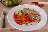 Fideos de arroz con cerdo salteado y verduras. Receta sin gluten