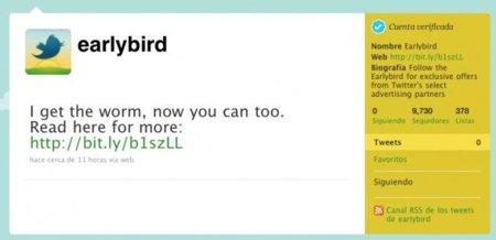 Twitter comenzará a publicar ofertas de compra a través de la cuenta @EarlyBird