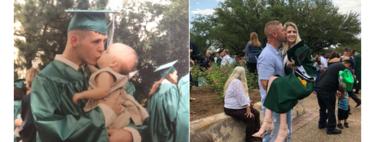 Se graduó con su hija en brazos y 18 años después ambos recrearon la misma foto en la graduación de ella