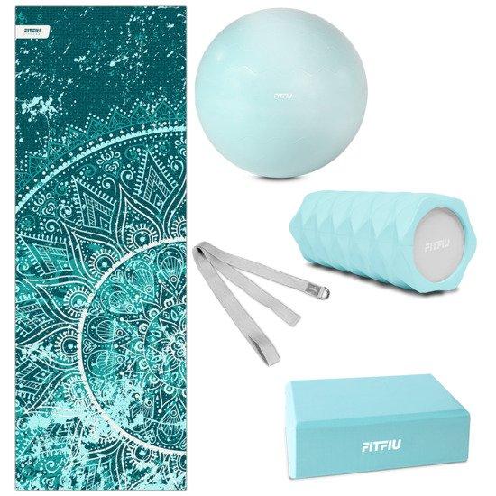 Pack 5 accesorios Yoga Pilates Azul Fitfiu esterilla, bloque, bola roller y cinta