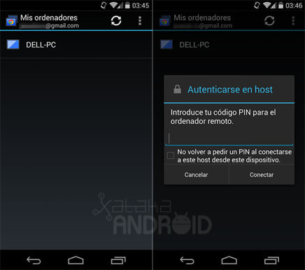 Escritorio remoto de Chrome para Android
