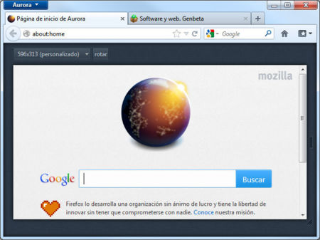 Firefox 15 Aurora modo líquido