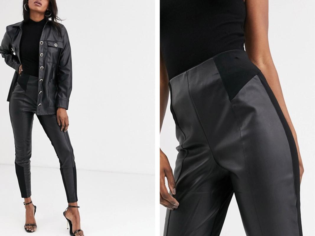 Pantalones de punto roma y cuero sintético en negro de River Island