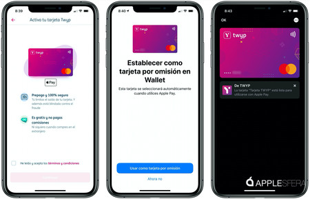 Capturas Twyp Apple Pay