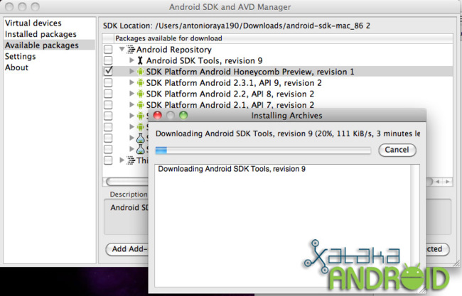 instalando sdk android mac