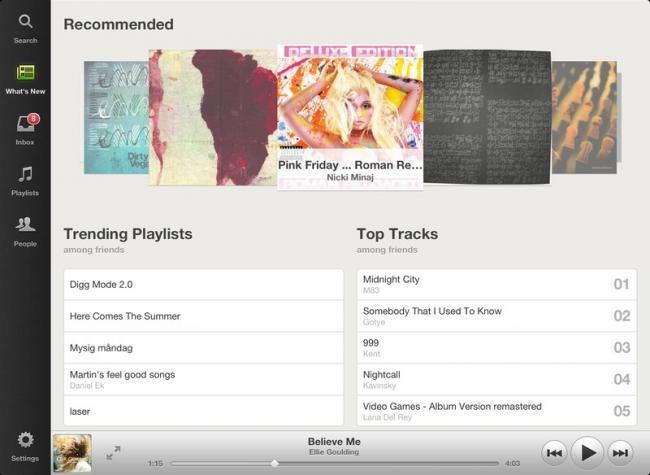 Spotify para iPad: novedades