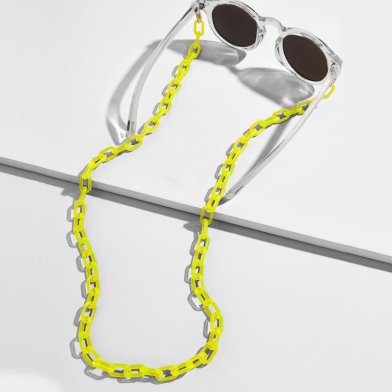 Cadena de gafas amarillo neón