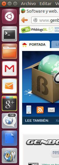 Ubuntu WebApps detalle del lanzador