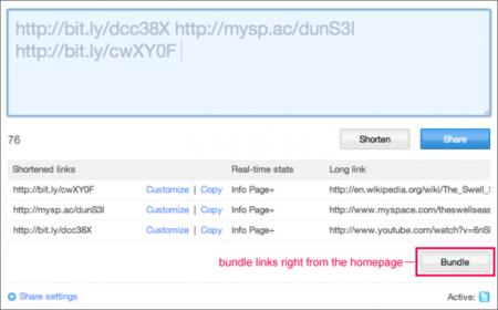 bit.ly permite agrupar varios enlaces en una misma URL corta