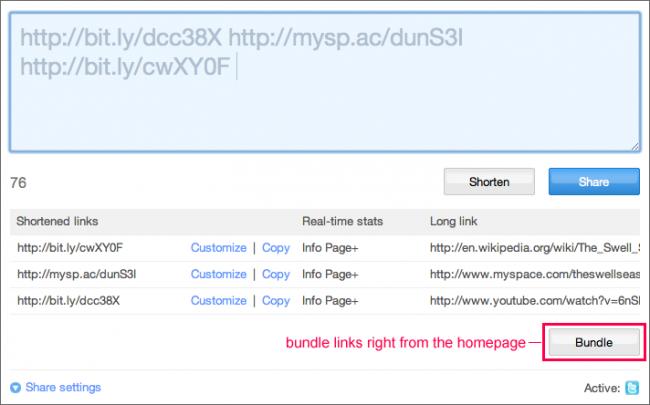 bitly bundle permite juntar varios enlaces misma URL