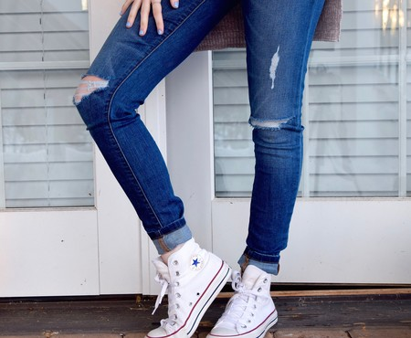 Person In Blue Denim Jeans And White Converse All Stars 52574