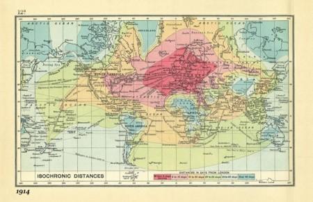 Mapas isócronos: cuando medir los tiempos de un viaje a cualquier rincón del mundo era un arte