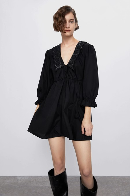 Vestidos Rebajas 2020 Zara Blanco Negro 01