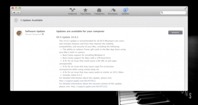 Apple actualiza OS X a la versión 10.8.3