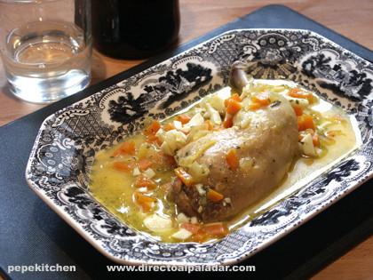 Receta de pollo o gallina en pepitoria