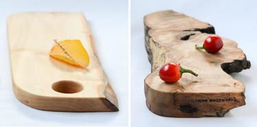 Tablas de cortar y bandejas de troncos de madera natural, un bonito toque rústico en la mesa