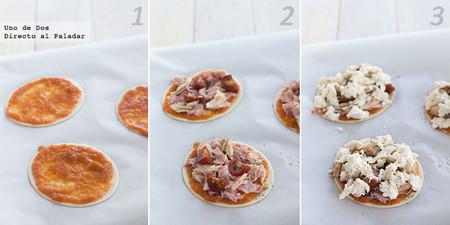 Mini pizzas de bonito, jamón cocido y setas. Receta paso a paso