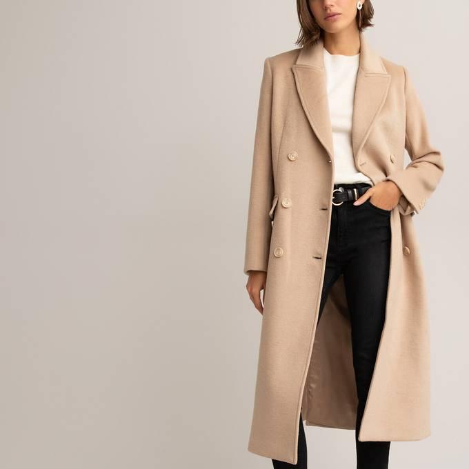 Abrigo largo de lana reciclada