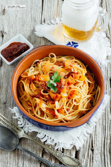 Cómo hacer unos mexicanísimos espaguetis al chipotle