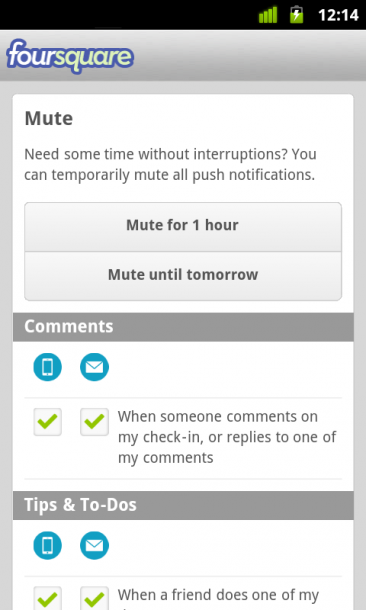 panel de notificaciones foursquare