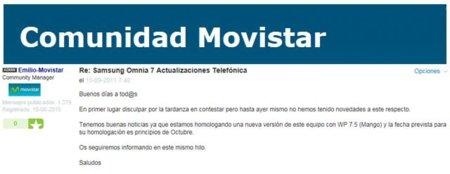 Samsung Omnia 7 de Movistar tendrá la actualización de Mango, sin NoDo mediante