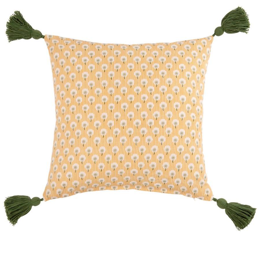 Funda de cojín de algodón amarillo con estampado floral 40x40