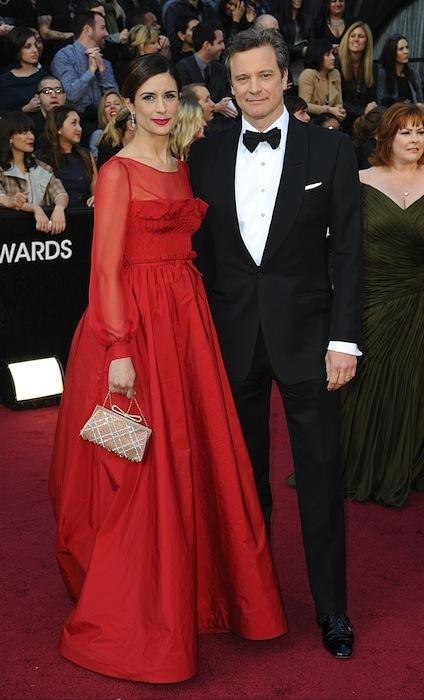 Colin Firth y su esposa Livia en los Oscar 2012