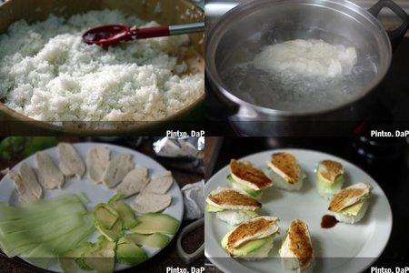 Nigiri de pollo, aguacate y pepino