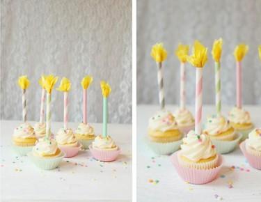 Manualidades con niños: velas de papel para decorar cupcakes y pasteles
