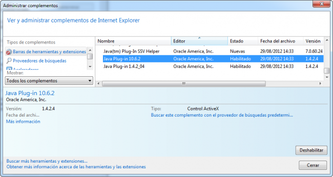 Desactivar Java en Internet Explorer