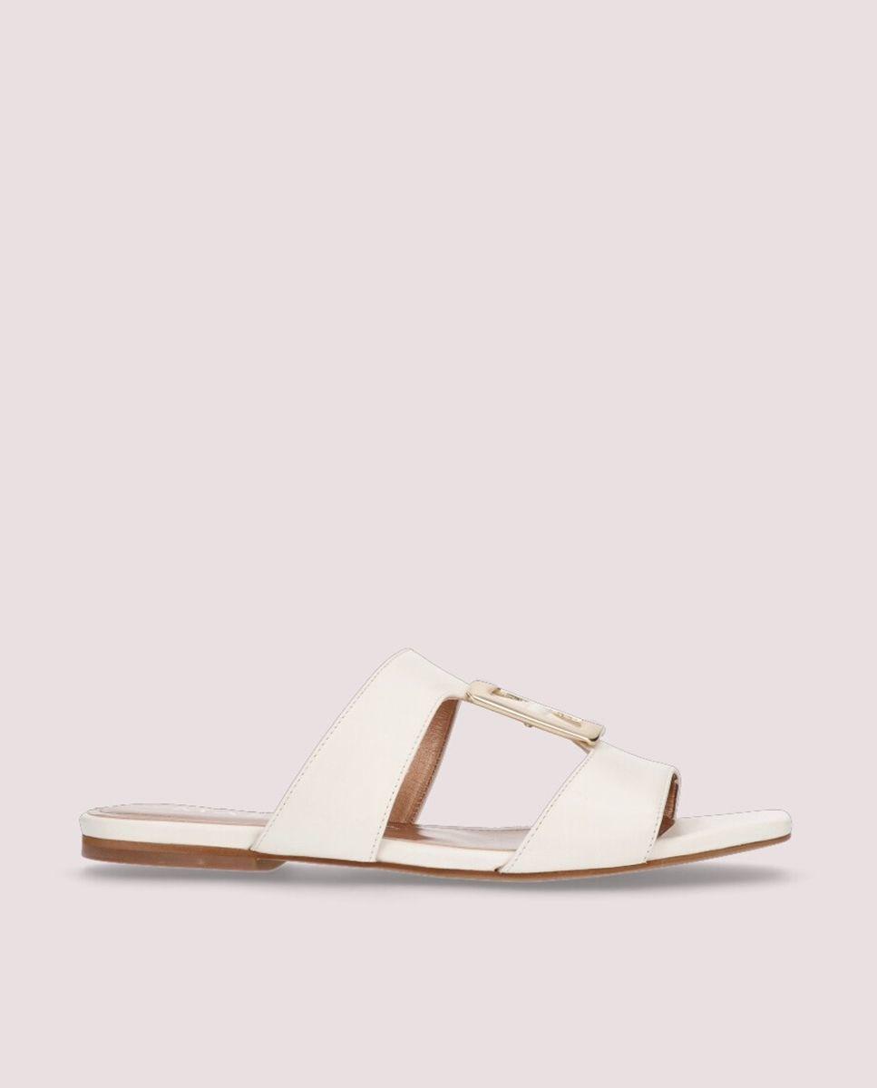 Sandalias planas de mujer Mascaró en napa color blanco