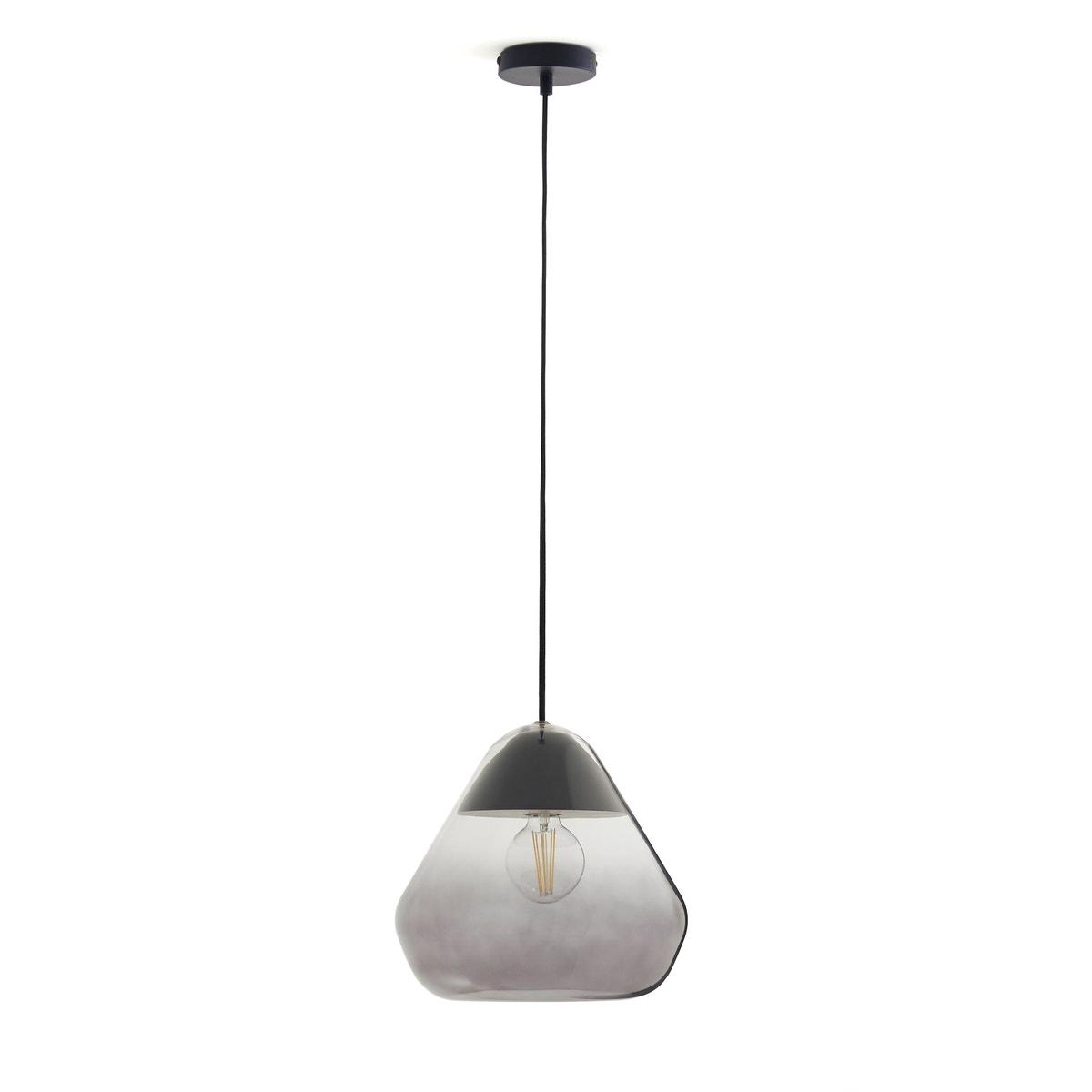 Lámpara de techo de vidrio y madera