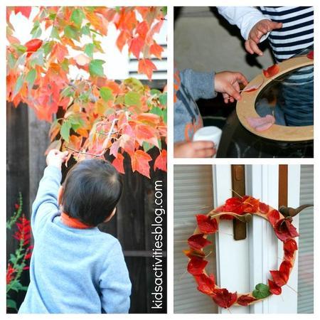 Manualidades con niños: guirnalda navideña con hojas del bosque