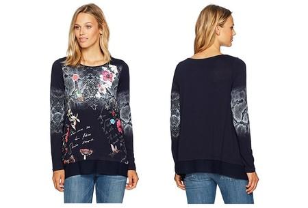 La camiseta de manga larga para mujer Desigual Me Zhara está por 34,95 euros con envío gratis en Amazon