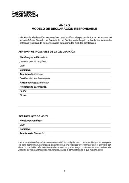 Aragon Declaracion Responsable