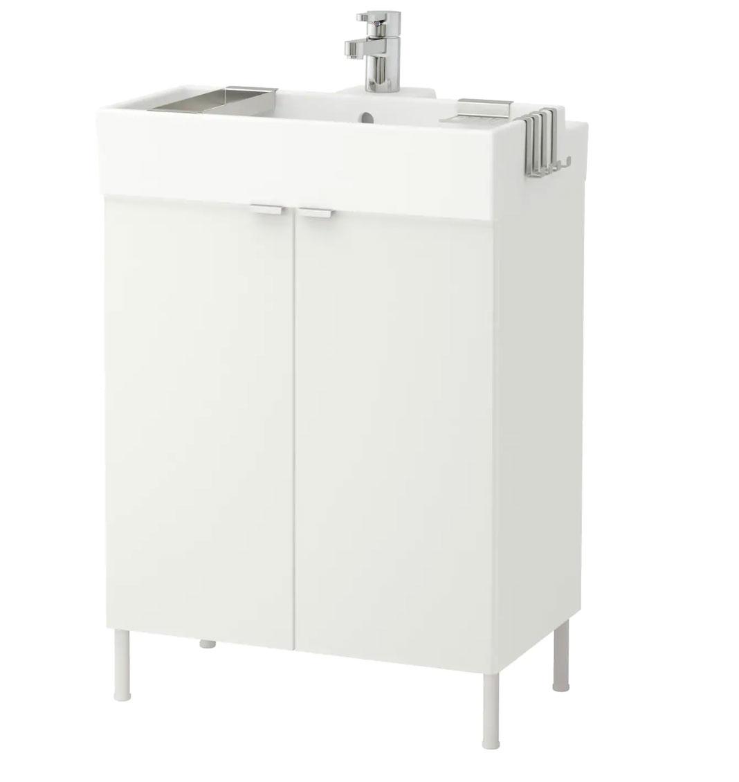 LILLÅNGEN Armario lavabo&2 pta, blanco, 62x27x88 cm