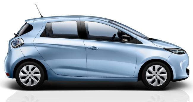 Renault ZOE exterior vista lateral azul hielo