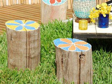 Hazlo tú mismo: troncos para sentarte en el jardín