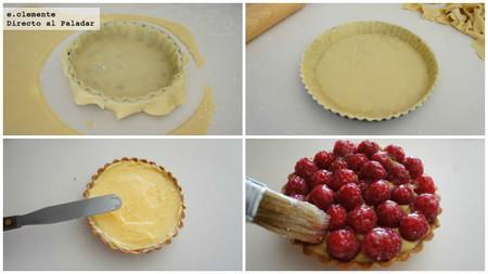 Tartaletas de crema de limón y frambuesas