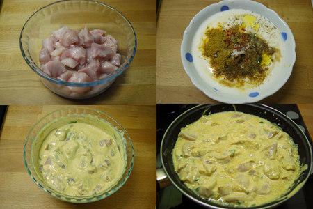 Pollo con salsa de yogur sin lactosa al curry. Pasos