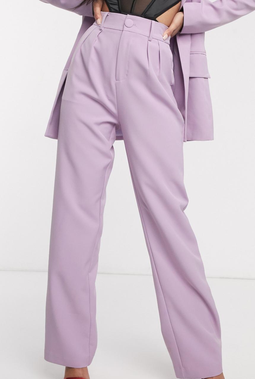 Pantalones de traje de pernera ancha en lila de 4th + Reckless