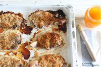Chuletas de cerdo crujientes con albaricoque. Receta