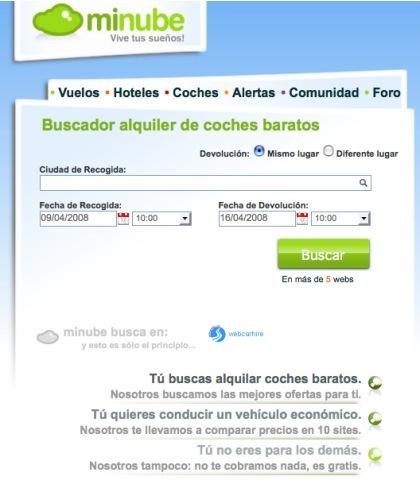 Minube incorpora un buscador de coches de alquiler