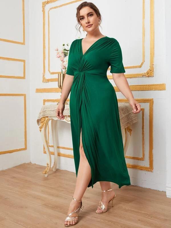 SHEIN Vestidos Tallas Grandes Pliegos Envolvente Liso Elegante