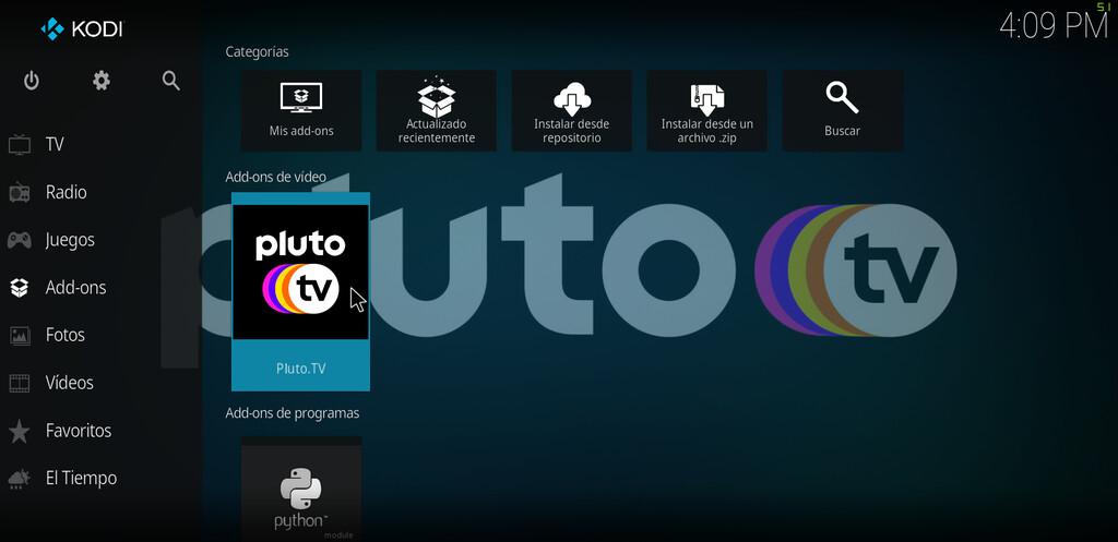 Cómo ver Pluto TV en Kodi para disfrutar de series y películas gratis sin registro