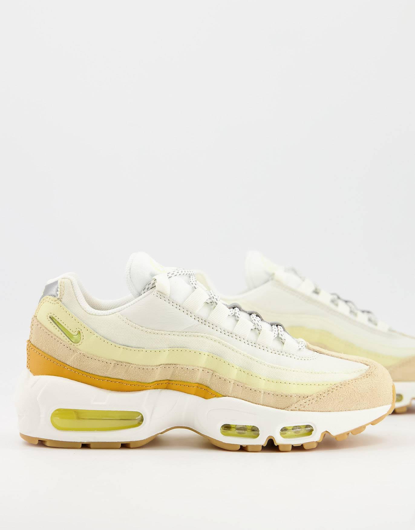 Zapatillas de deporte amarillas y blanco hueso Air Max 95 de Nike